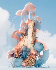 Roman Bratschi - Nonsense in Game Design, Bg Design, Composition Art, 3d Artwork, Artwork Drawings, Drawing Faces, Mushroom Art, Grafik Design, Motion Design