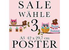 SALE 3 Poster deiner Wahl im A3 Format von VintagePaperGoods - GreenNest auf DaWanda.com