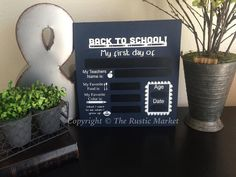 Back to School Reusable Chalkboard by RusticMarketbyNikki on Etsy
