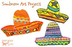 Special thanks to Painted Paper for this one, third grade students draw and paint a HUGE sombrero. So much fun!