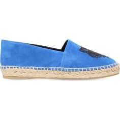 KENZO Embroidered-tiger suede espadrilles ($265) ❤ liked on Polyvore featuring shoes, sandals, mid blue, blue suede sandals, slip-on shoes, suede shoes, blue suede shoes and slip on sandals