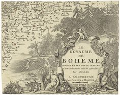 Johann Christoph Müller   Fragment van een kaart van Bohemen, Johann Christoph Müller, Johannes Covens en Cornelis Mortier, 1744   Een rijk gedecoreerd cartouche met de titel in het Frans, versierd met hoorns des overvloeds, bladeren en putti. De cartouche wordt geflankeerd door Ceres en Bachus. Op de achtergrond in een bos jagen mannen op herten en everzwijnen. Links een fragment van de kaart van Bohemen.