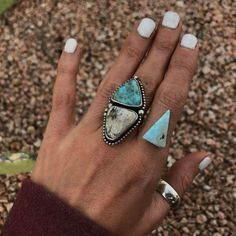 I've got a few more of these long Larimar  triangles now for customs if anyone's interested in seeing them lmk :) #Larimar #larimarring #larimarjewelry #beachyjewelry #beachy #hawaii #maui