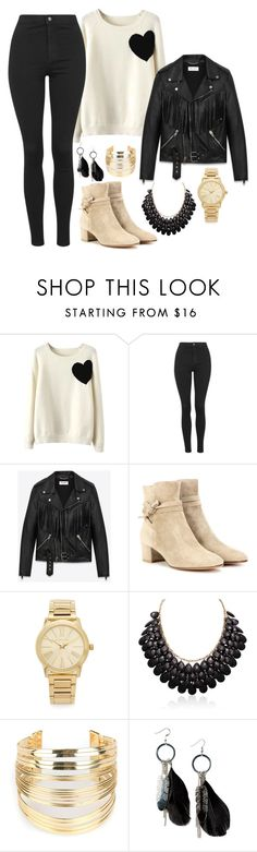 """""""Hard"""" by lamodaesvida-02 ❤ liked on Polyvore featuring WithChic, Topshop, Yves Saint Laurent, Gianvito Rossi, Michael Kors and MANGO"""