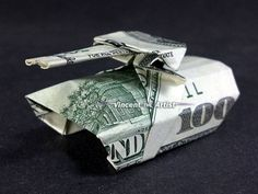 Money Origami ARMY TANK - Made with $100 bill | Money Origami ...