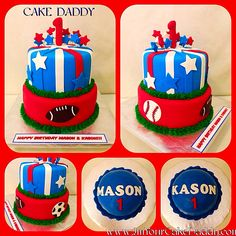 Sports themed birthday cake and smash cakes for twins.