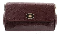 Coach Ruby Signature Debossed Patent Leather Crossbody Clutch