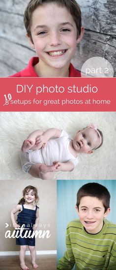 This shows you how to setup a DIY photo studio in your own home or yard so you can get fantastic pictures of your kids for free. Example photos show you exactly how to set up 10 different backgrounds. Photoshop Photography, Photography Backdrops, Photography Tutorials, Photography Backgrounds, Photo Backdrops, Photography Projects, Photo Backgrounds, Digital Photography, Photography Business