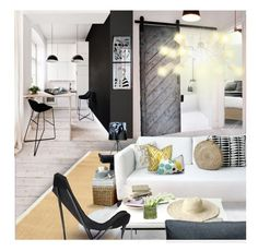 """""""One Bedroom Apartment"""" by annmaira ❤ liked on Polyvore featuring interior, interiors, interior design, home, home decor, interior decorating, West Elm, Safavieh, Pacini & Cappellini and Monday"""