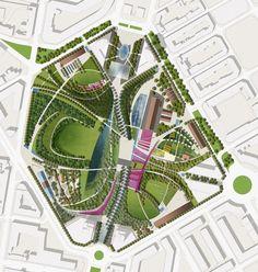 #landarch #urbandesign Gustafson Porter winning design for Valencia Parque Central