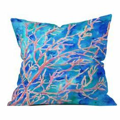 "Bring a bright pop of color to your bed or favorite reading nook with this eye-catching pillow, featuring a woven design and vibrant coral motif.   Product: PillowConstruction Material: Woven polyester coverColor: MultiFeatures:  Insert includedDesigned by Rosie Brown for DENY Designs  Dimensions: 20"" x 20""Cleaning and Care: Machine washable cover"