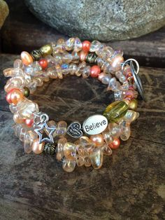 Live Your Dream: three wrap memory wire bracelet with metal stamped charm on Etsy, $30.00