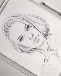 Creative and Great Wonderful Face Sketch . Love the delicacy, and the way 'straightforward' it feels, whenever you look. Pencil Art Drawings, Cool Art Drawings, Realistic Drawings, Beautiful Drawings, Art Drawings Sketches, Drawing Faces, Pencil Sketching, Portrait Draw, Portrait Sketches