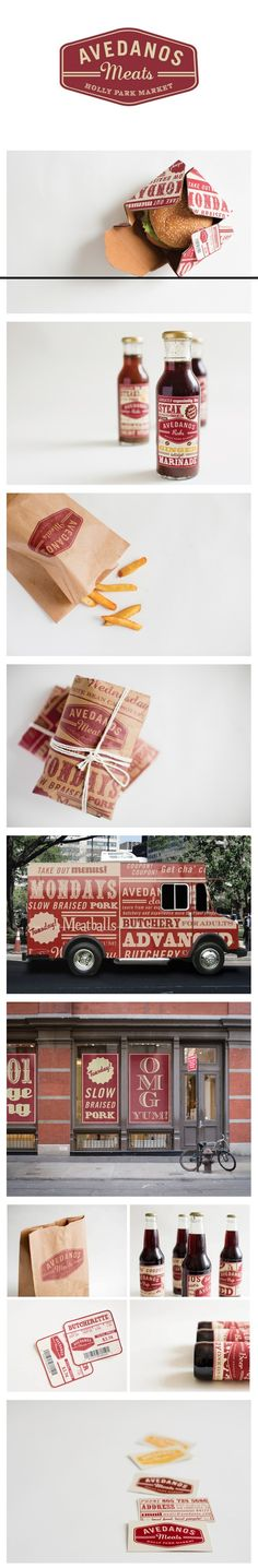 http://media-cache-ak0.pinimg.com/originals/c5/d5/b6/c5d5b67972bba5f66a0f091ec31a188c.jpg, Avendados, Lettering, Type, Typography, Fries, Bar-b-que, meat, sauce, trucks, signage, logo, packaging
