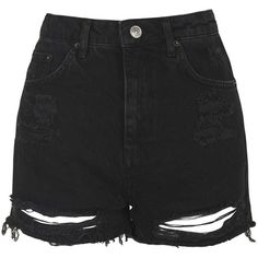 TopShop Tall Moto Ripped Mom Shorts (€39) ❤ liked on Polyvore featuring shorts, bottoms, pants, short, washed black, distressed jean shorts, black jean shorts, black denim shorts, high-waisted denim shorts und black high waisted shorts