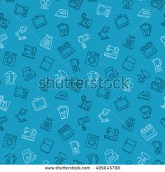 Appliances seamless pattern outline vector illustration