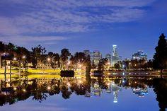 Reflection of Downtown LA on a lake in Echo Park. LA <3