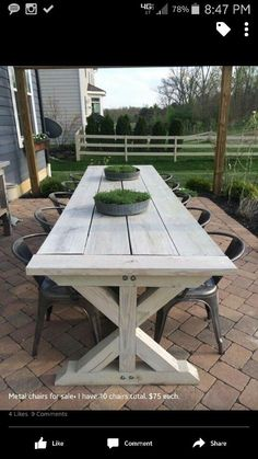Rustic Outdoor Patio Table Design Ideas On A Budget Beautiful farmhouse table Back Patio, Small Patio, Backyard Patio, Pergola Patio, Diy Patio, Outdoor Spaces, Outdoor Decor, Outdoor Farmhouse Table, Farmhouse Outdoor Furniture
