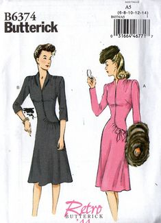 b2b9beb9a193 Butterick B6374 Womens Repro 40s Asymmetric Draped Dress Sewing Pattern  Size 6 8 10 12 14