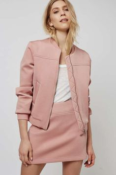 Punch-Textured Bomber Jacket | Topshop
