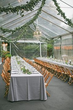 love the greenhouse feel at this Beverly Hills wedding reception