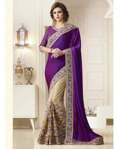 Purple Georgette Saree with Embroidered Blouse