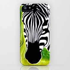 Green Black and White Zebra iPhone Case by Patrickcollin - $35.00