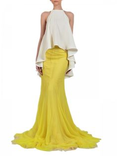 PARLOR- Yellow silk-chiffon skirt. Crafted with geometric details. Fabrics: 100% silk. White silk -crepe open back top. Silk lining. Fabrics: 100% silk.