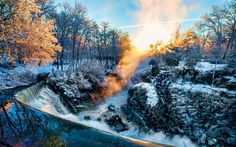 Download wallpapers winter, morning, sunrise, waterfall, forest, river, Germany, fog, snow