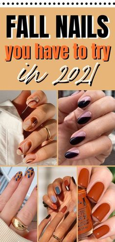 Looking for fall nail inspo for 2021? here are the cutest fall nail designs, fall nail colors and fall nail ideas for this fall season! fall nail colors 2021 fall nail colors opi fall nail ideas…