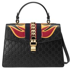 Gucci Sylvie Gucci Signature Bag (€2.430) ❤ liked on Polyvore featuring bags, handbags, black, top handles, women, leather handbags, leather purses, chain handbags, leather hand bags and gucci