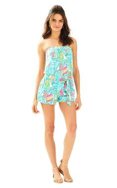 We love rompers too much. The Ritz romper is strapless perfection with a hidden elastic waist AND pockets! Pair with gold wedges for date night or sandals for every day wear. We love the printed sash.