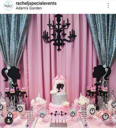Barbie Theme Birthday Party Dessert Table and Decor Barbie Party Decorations, Barbie Theme Party, Barbie Birthday Party, Fun Party Themes, Birthday Decorations, Girl Birthday, Party Ideas, 16th Birthday, Sleepover Birthday Parties