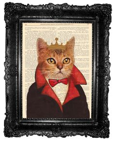 Cat Portrait- Cat King - ORIGINAL ARTWORK  collage cat print Hand Painted Mixed Media Art Print on Vintage book