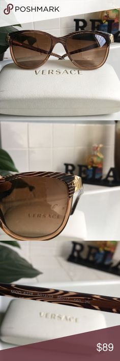 Versace Sunglasses Versace Sunglasses Mod 4228.  Worn and loved.  Some faint scratches on frame (nothing really noticeable, just normal wear), but there are 'deeper' scratches on the tip of the right arm of the frame that's only noticeable if light is reflected off them (pictured above).  Since that will be behind your ear I don't feel anyone would notice.  Right arm could use a tightening as well...nothing wrong with it, I just don't have an eyeglass kit to tighten them.  Will send in case…