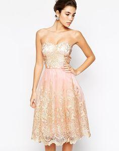 Chi Chi London Premium Metallic Lace Bandeau Midi Prom Dress