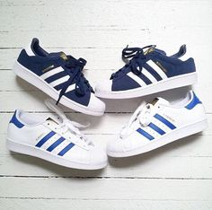 Navy and blue and white superstars