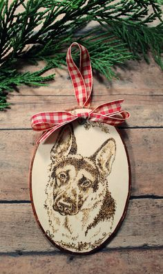 Christmas Ornament featuring German Shepherd Wood Burned into Basswood Oval Knitted Christmas Stockings, Christmas Knitting, Family Holiday, Holiday Gifts, Holiday Decor, Winter Holidays, Happy Holidays, Christmas Decorations, Christmas Ornaments