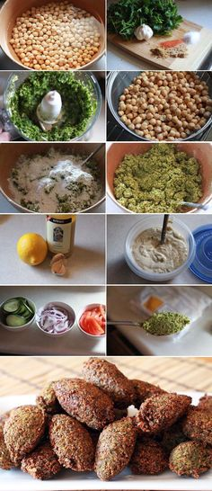 Ingredients for making falafel