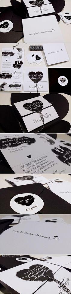 """Invitación de boda personalizada y original titulada """"Polos opuestos"""", realizada para nuestros novios Nuria y Miguel. Creación a modo de tríptico, en blanco y negro, con ilustración de corazón y decoración con hilo baker's twine semejando un globo. Todo ello dentro de una caja negra de cuatro solapas con cierre de pegatina. #invitacion #boda #invitacionesdeboda #blancoynegro #pegatina #invitacióndebodaoriginal #cajanegra #corazon #globo #wedding"""