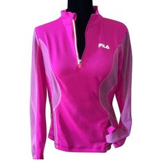🌺FILA 🌺SPORT Curve 1/4 zip PINK workout pullover NEW WITH TAGS women's FILA SPORT Curve 1/4 zip BRIGHT PINK  workout pullover. Soft thin material. Embrace comfort and style with this women's FILA SPORT pullover. Bright PINK, fashionable and ready for any workout.  Zipper garage protects chin,  Long sleeves with pull over the thumb for extra coverage.  1-pocket with zip.  Semi-fitted seams. Longer cut. Fila Tops Sweatshirts & Hoodies