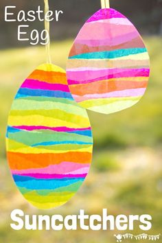 EASTER EGG SUNCATCHER CRAFT for kids is bright and colourful. They look beautiful in windows and they can be hung outside for Easter egg hunts too. A super Easter craft / Easter art idea. activities for toddlers at home Easter Egg Suncatchers Easter Arts And Crafts, Easter Crafts For Toddlers, Crafts For Kids To Make, Easter Crafts For Kids, Spring Crafts, Toddler Crafts, Preschool Crafts, Holiday Crafts, Bunny Crafts