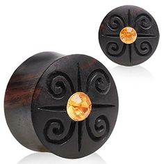 Aarang Wood Tribal Logo Saddle Plug with Gem in the Center Tribal Logo, Stretched Lobes, Wood Plugs, Tunnels And Plugs, Ear Gauges, Body Jewelry, Horns, Spiral, Celtic