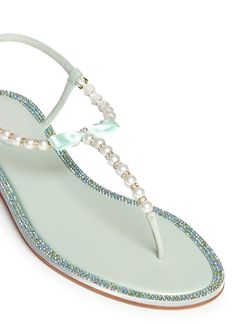 2b8dde31eaa RENÉ CAOVILLA Pearl Crystal Thong Sandals T Strap Sandals