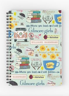 Gilmore Girls Spiral Notebook. So many favorites from Gilmore Girls! A stack of classic novels, Hep Aliens sandwich tour bus, Rory's 21st birthday cocktail, and what's a danish without a cup of coffee from Luke's Diner?