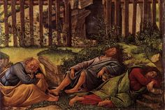 'Agony in the Garden', Botticelli, c. 1500, Oil on canvas. Detail Christ's closest disciples have fallen to the temptation of sleep.