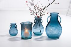 Vaza Rustic Blue, Sticla, Ø11xH16 cm #homedecor #interiordesign #inspiration #decorations Rustic Blue, Glass Vase, Tropical, Blue Colors, Interior Design, Floral, Inspiration, Vintage, Home Decor