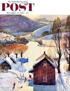 Snow On The Farm by John Clymer, Dec. 22, 1956, The Saturday Evening Post.
