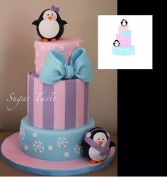 Penguins Cake It's my niece cake .She loves penguins so we decided to choose this theme . first I designed the characters on. 3rd Birthday Cakes, Baby Girl First Birthday, 1st Birthday Parties, Birthday Ideas, Penguin Birthday, Penguin Party, Penguin Baby Showers, Penguin Cakes, Baby Shower Decorations
