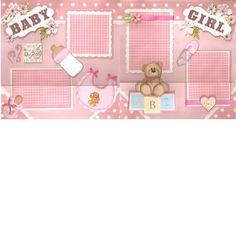 Baby Girl 2 12 x 12 Premade Scrapbook Pages by Lorraine | eBay